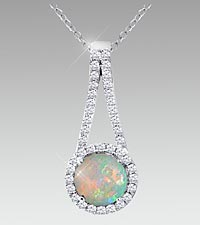 7mm Round-Cut Opal & Created White Sapphire Sterling Silver Pendant