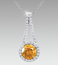 7mm Round-Cut Citrine & Created White Sapphire Sterling Silver Pendant