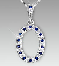Created Blue Sapphire & Created White Sapphire Oval Sterling Silver Pendant