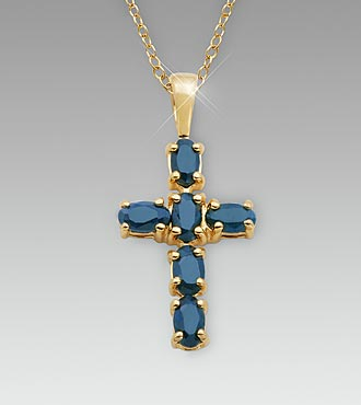 Genuine Sapphire 18K Gold over Sterling Silver Cross Pendant