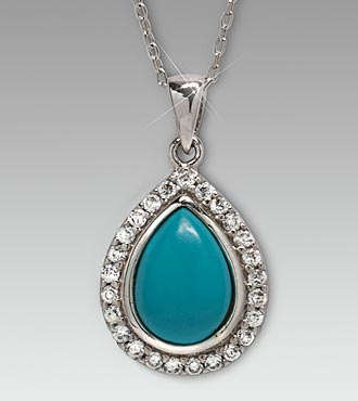 Synthetic Pear Turquoise & CZ Sterling Silver Pendant