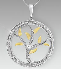 Created White Sapphire Tree of Life Two Tone Sterling Silver Pendant