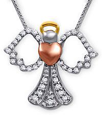 .15 ct wt Diamond Angel Sterling Silver Pendant