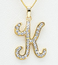 Gold Plated Sterling Silver K Initial Pendant with Crystal Accents