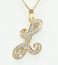 Gold Plated Sterling Silver L Initial Pendant with Crystal Accents
