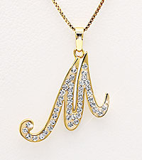 Gold Plated Sterling Silver M Initial Pendant with Crystal Accents