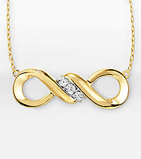 Infinity Symbol Gold over Sterling Silver Necklace with Diamond Accent