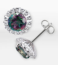 Mystic Topaz Sterling Silver Earrings with Genuine White Topaz Accents
