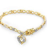 Gold Plated Sterling Silver Heart Link Bracelet with Diamond Accents