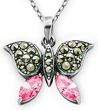 Marcasite & Pink Cubic Zirconia Butterfly Pendant