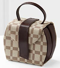 Two-Tone Checkered Travel Jewelry Case