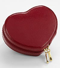 Red Leather Heart-Shaped Travel Jewelry Case