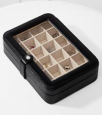 Black Faux Leather Glass Top Jewelry Box