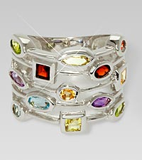 Multi-Gemstone Sterling Silver Ring