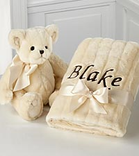 Personalized Baby Blanket & Teddy Bear Gift Set