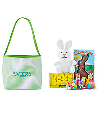Personal Creations ® Embroidered Seersucker Easter Tote - Lime Green with Candy