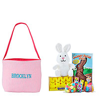 Personal Creations ® Embroidered Seersucker Easter Tote - Pink with Candy