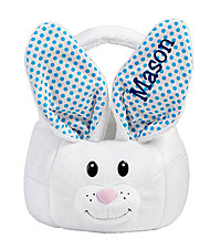 Personal Creations ® Fluffy Bunny Plush Easter Basket - Blue