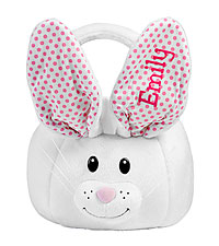 Personal Creations ® Fluffy Bunny Plush Easter Basket - Pink