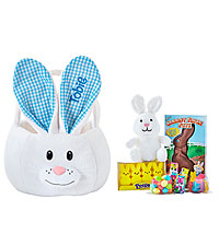 Personal Creations ® Fluffy Bunny Plush Easter Basket - Blue with Candy
