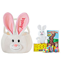 Personal Creations ® Fluffy Bunny Plush Easter Basket - Pink with Candy