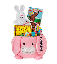 Personal Creations ® Furry Friend Easter Basket - Pink Bunny with Candy