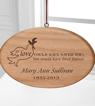 Personalized Forever Loved Oval Wood Ornament