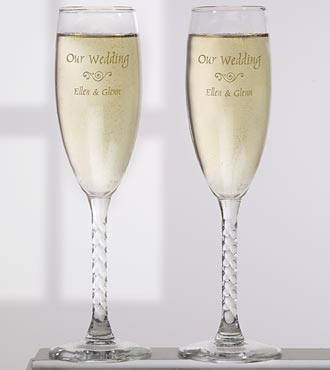 Personalized Wedding Toast Glass Flute Set