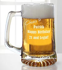 Personalized Cheers to You 21st Birthday Beer Mug