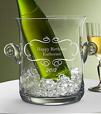 Personalized Birthday Wishes Etched Ice Bucket