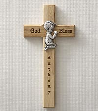 Personalized Bless This Child Wood Cross - Boy