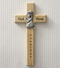 Personalized Bless This Child Wood Cross - Girl