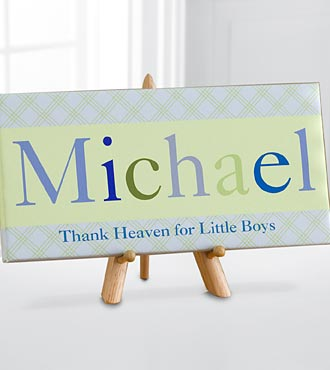 Personalized Just For Them Name Art Canvas Print - Boy with Easel