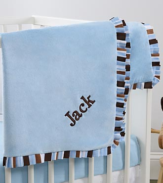 Personalized Blue Velour Baby Boy Blanket