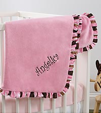 Personalized Pink Velour Baby Girl Blanket
