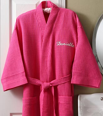 Personalized Embroidered Pink Waffle Weave Kimono Robe