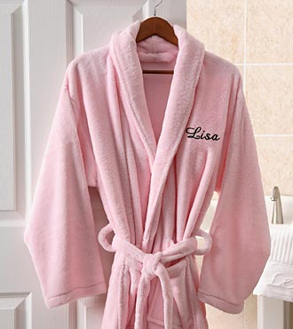 Personalized Embroidered Fleece Robe - Pink