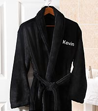 Personalized Embroidered Fleece Robe - Black
