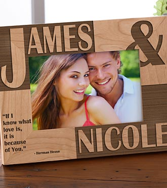 Personalized Because of You Wood Photo Frame