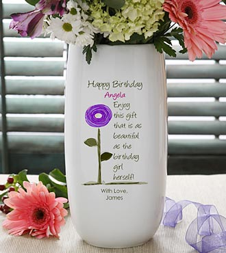 Personalized Birthday Blooms Ceramic Vase