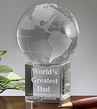 Personalized World's Greatest Dad Globe Keepsake