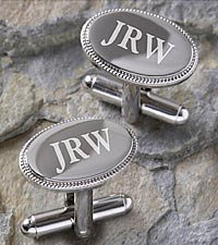 Personalized Elite Collection Silver Engraved Cuff Links