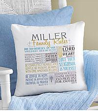 Personal Creations ® Rules of Faith Throw Pillow - Blue