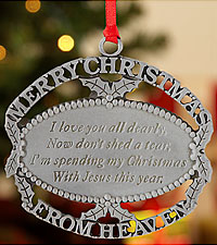 Personal Creations ® Merry Christmas From Heaven Ornament - Pewter