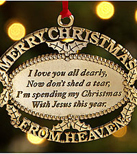 Personal Creations ® Merry Christmas From Heaven Ornament - Gold Plate