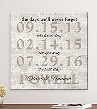 Personal Creations ® Never Forget the Days Canvas