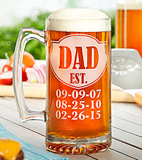 Personal Creations ® Dad Established Oversized Beer Mug