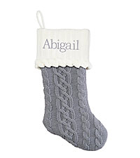 Personal Creations ® Cable Knit Stocking - Gray