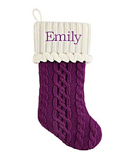 Personal Creations ® Cable Knit Stocking - Purple