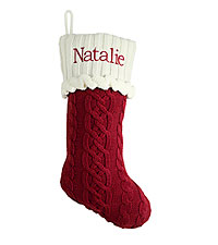 Personal Creations ® Cable Knit Stocking - Red